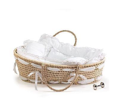 Badger Basket Natural Moses Basket with Gingham Bedding Sage