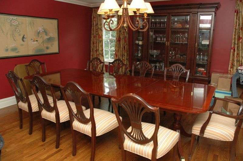 Double Pedestal Dining Table With 12 Shield Back Chairs Pads And Hutch Purchased