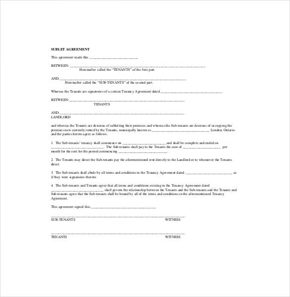 Sublease Agreement Form Template , 10+ Useful Sublease Agreement - sample tenancy agreements