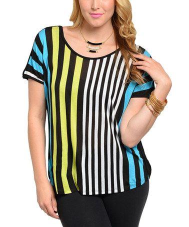 Love this Teal & Black Stripe Scoop Neck Top - Plus on #zulily! #zulilyfinds
