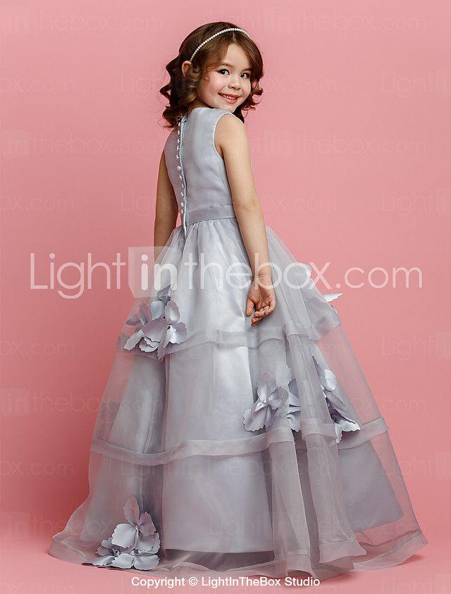 Una línea de longitud del piso vestido de niña de flores - satén sin ...