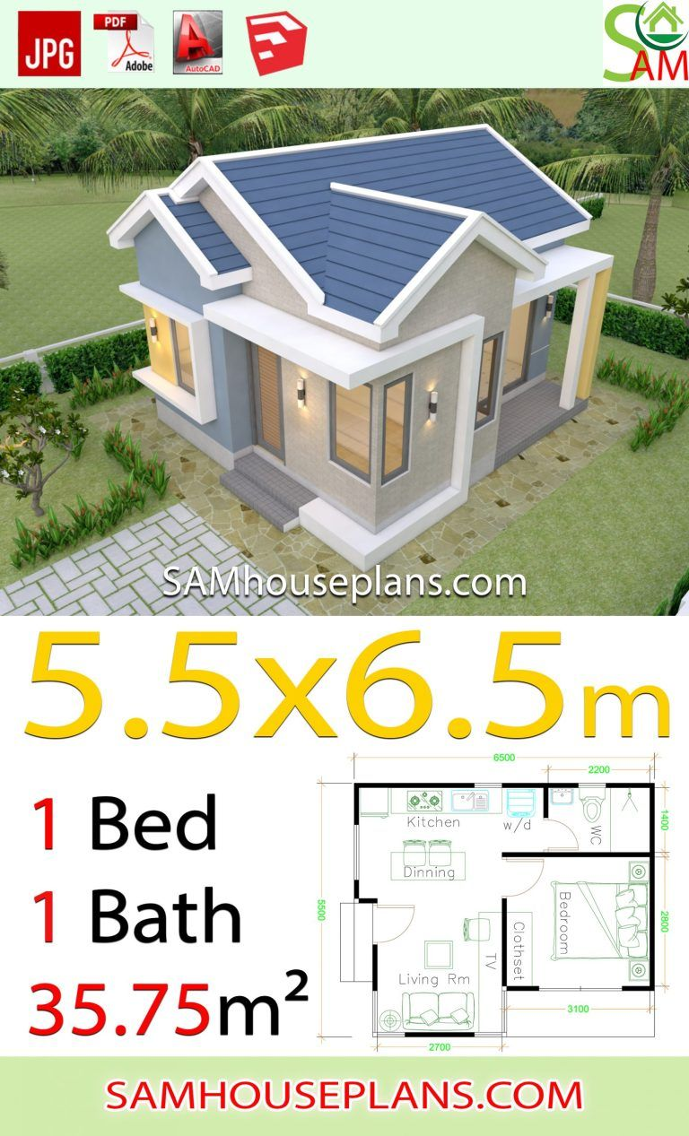 House Design Plans 5 5x6 5 With One Bedroom Gable Roof Houseplanidea In 2020 Small House Design Home Design Plans One Bedroom House