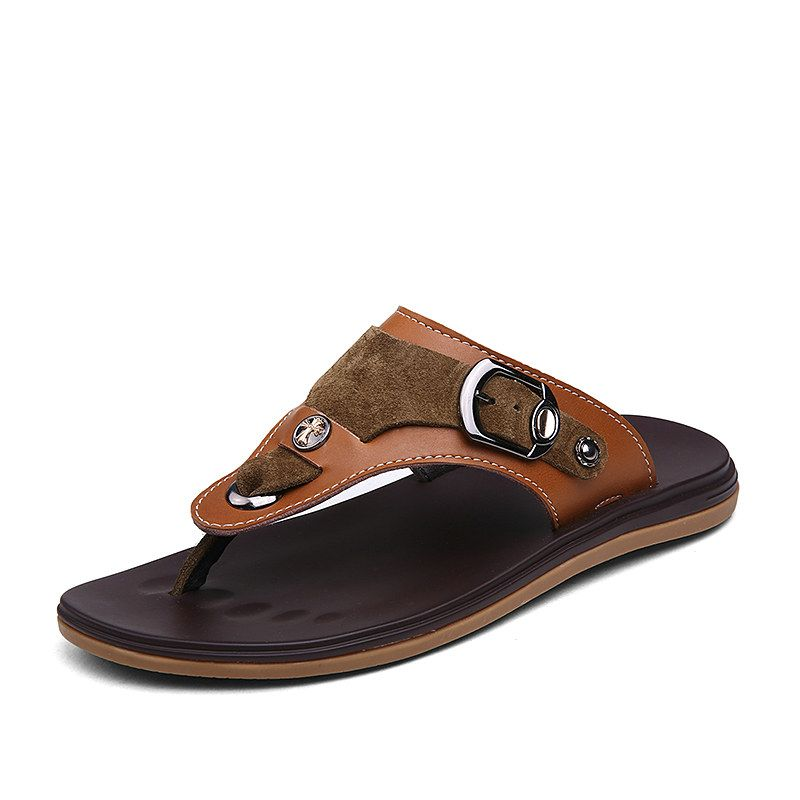 mens real leather slip on slippers black tan brown summer beach sandals mules  M0J2SC9Y1