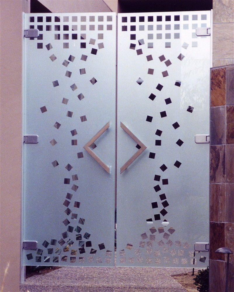 Glass doors design - Squares Frameless Glass Doors By Sans Soucie Custom Etched Glass Art Provides Privacy While Letting Light Into Your Entry Designs In Any Decor Style