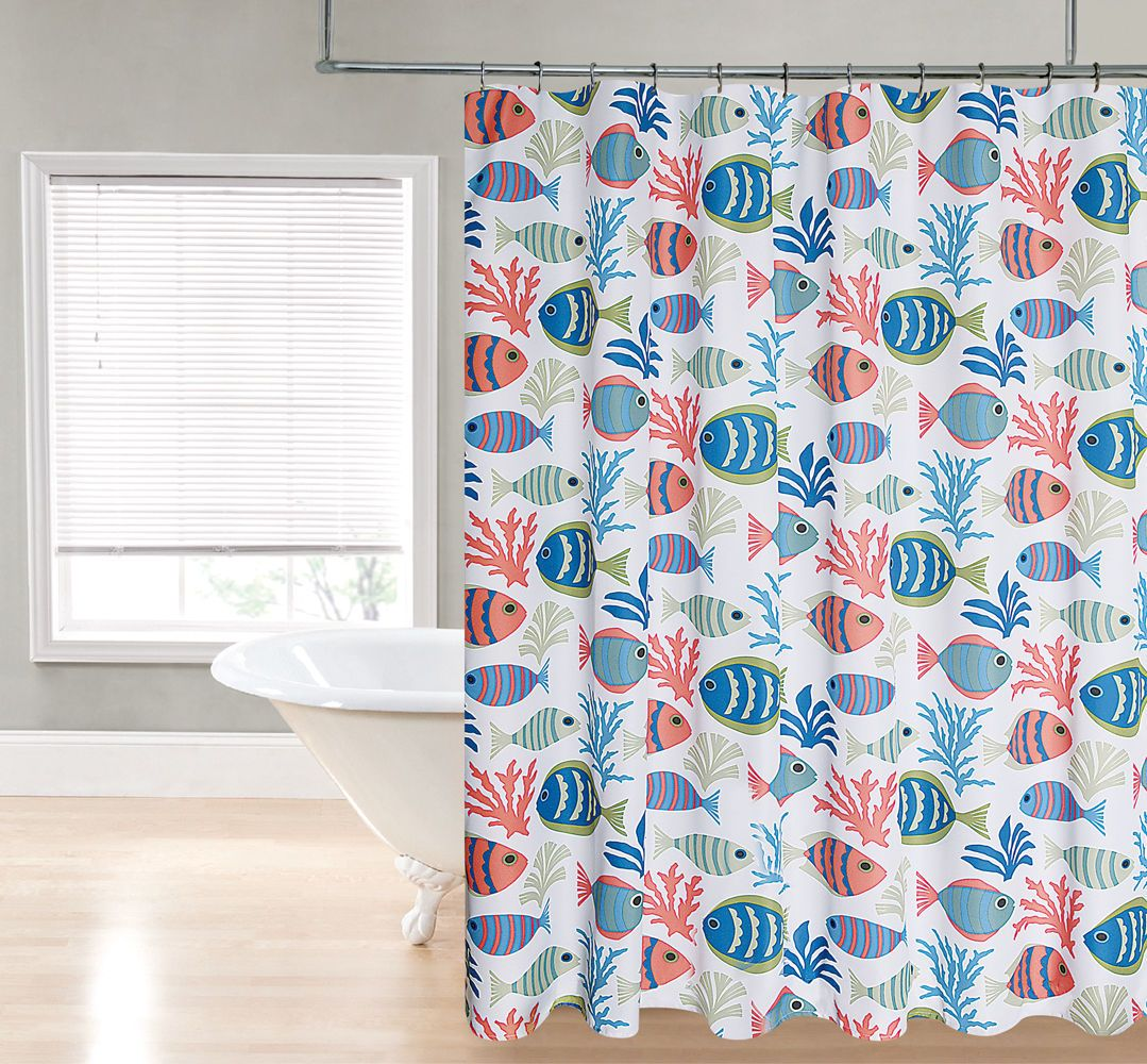 Fish Heavy Duty Fabric Shower Curtain By Goodgram 70 In X 72 In Ebay Fabric Shower Curtains Curtains Home Collections