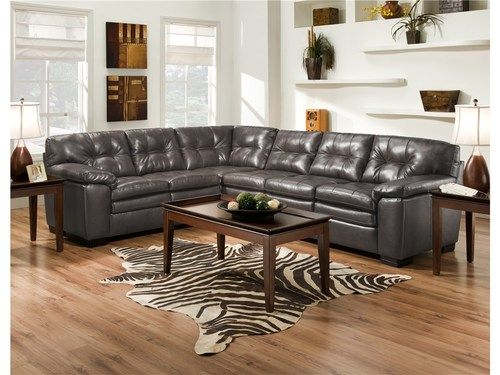 Albany Como Grey Bonded Leather Sectional Sofa 782 SO