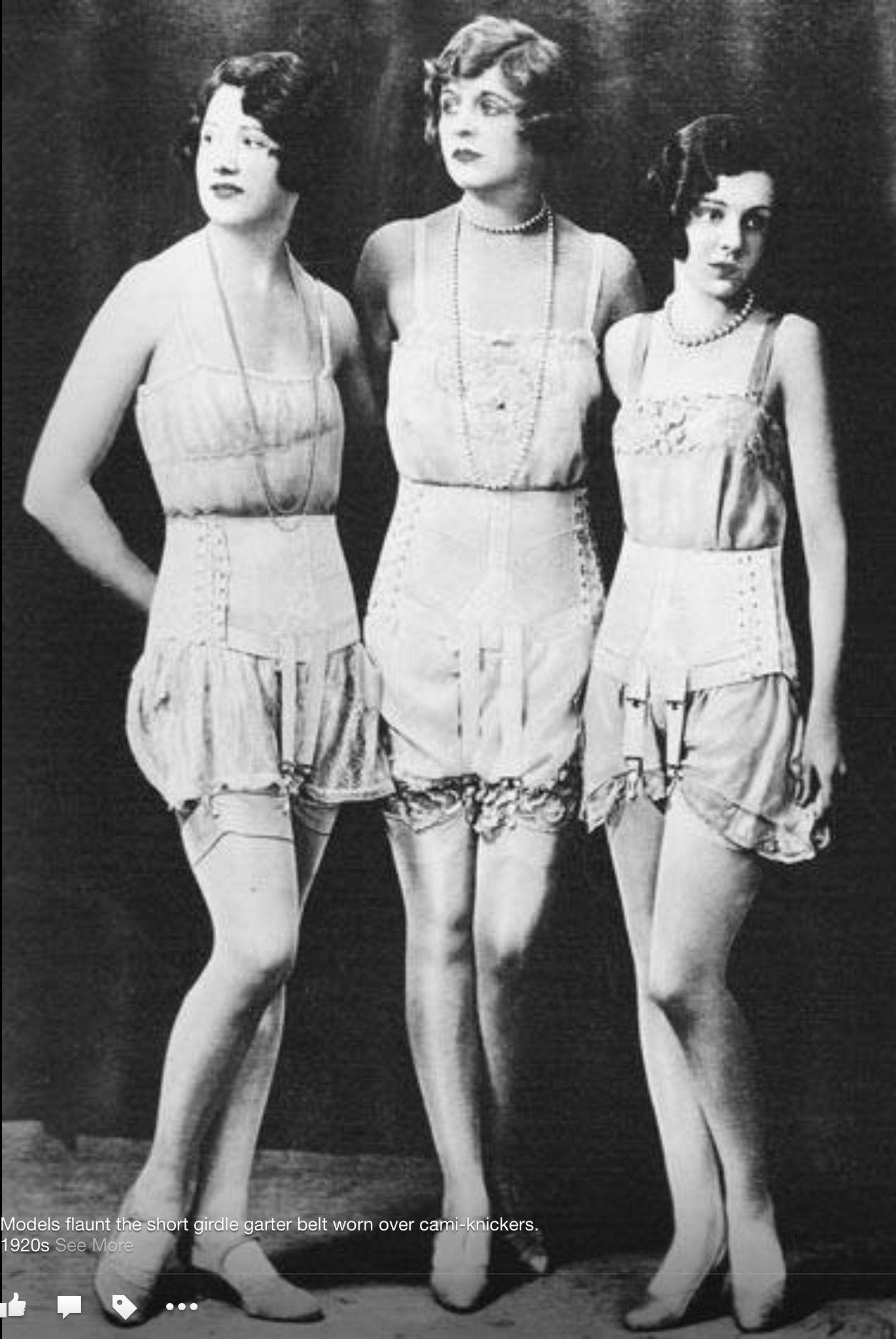 6fd709203536f 1920's ~ model wearing short girdle garter belts worn over cami-knickers
