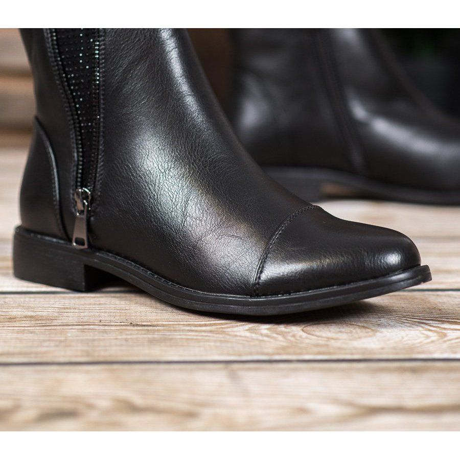 J Star Elegant Ankle Boots With Crystals Black Boots Classic Black Boots Black Boots Women
