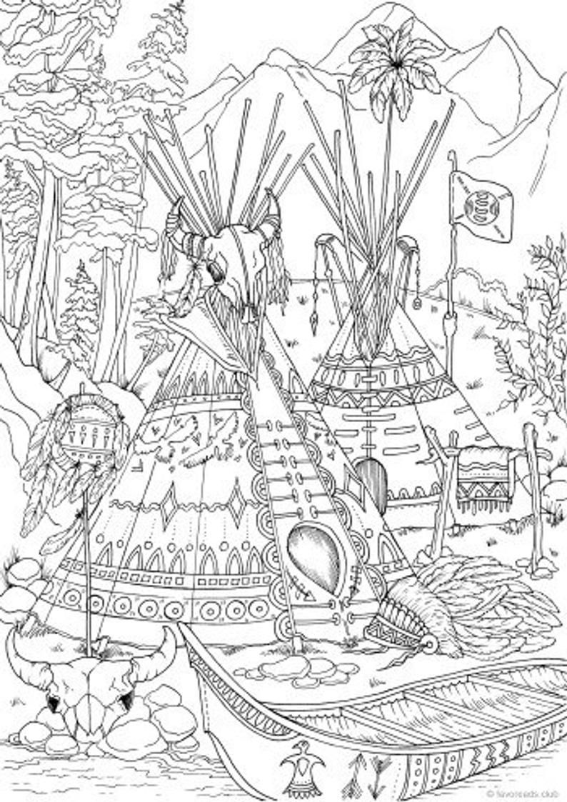 Native Americans - Printable Adult Coloring Page from Favoreads Coloring book pages for adults and kids Coloring sheets Coloring designs #adultcoloringpages