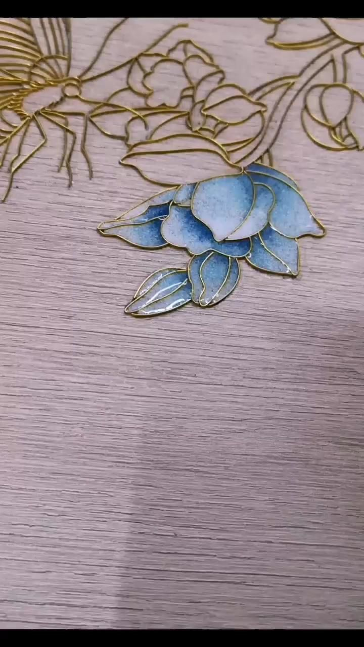 Cloisonne filigree drawing orchid