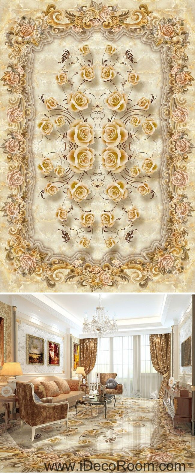Classic Luxury Roses 00070 Floor Decals 3D Wallpaper Wall Mural ...