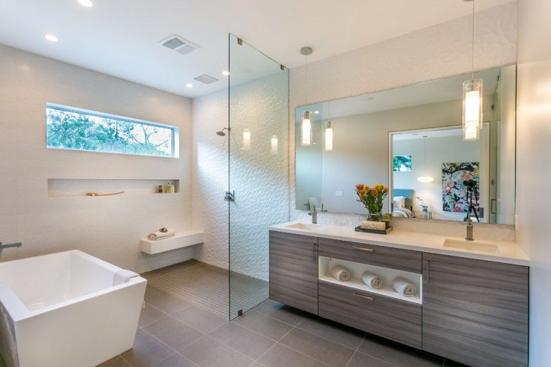 Bathroom With Walk In Showers Without Door With White Emboss Wall