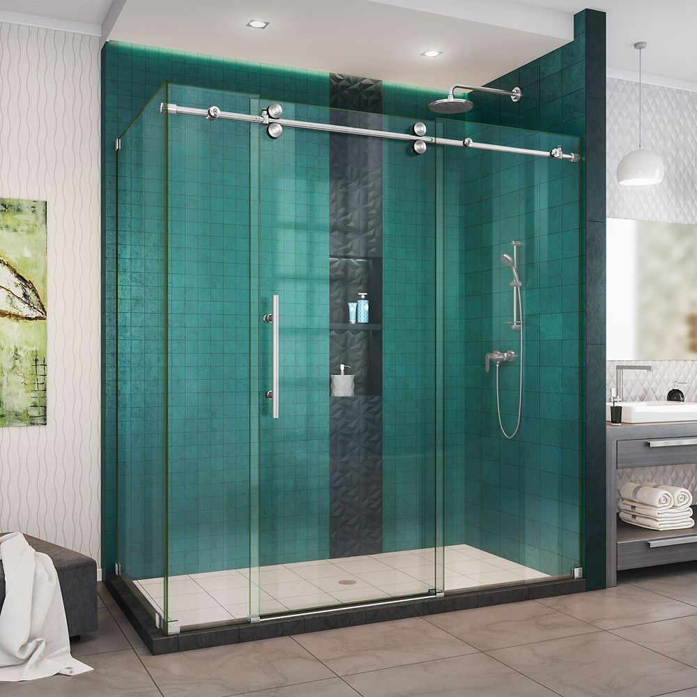 Enigma Xo 34 1 2 Inch D X 68 3 8 72 3 8 Inch W X 76 Inch H Shower Enclosure In Brushed Steel Shower Doors Frameless Shower Doors Frameless Sliding Shower Doors
