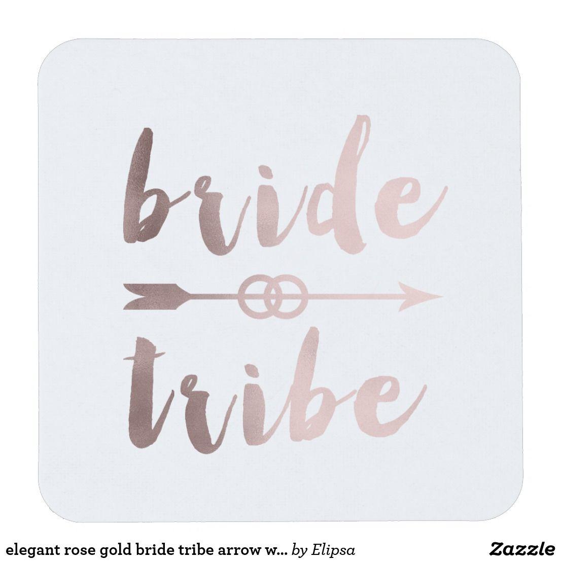 elegant rose gold bride tribe arrow wedding rings square paper