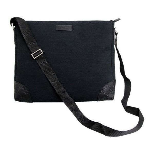 cdbeadb2ce2 Pre-Owned Gucci Black Canvas Guccissima Trim Sling Messenger Bag... ( 525