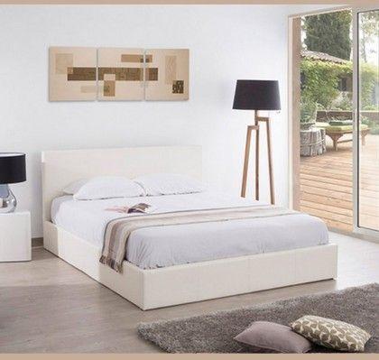 Cama con canapé de diseño Magali en color blanco. • Estructura de ...