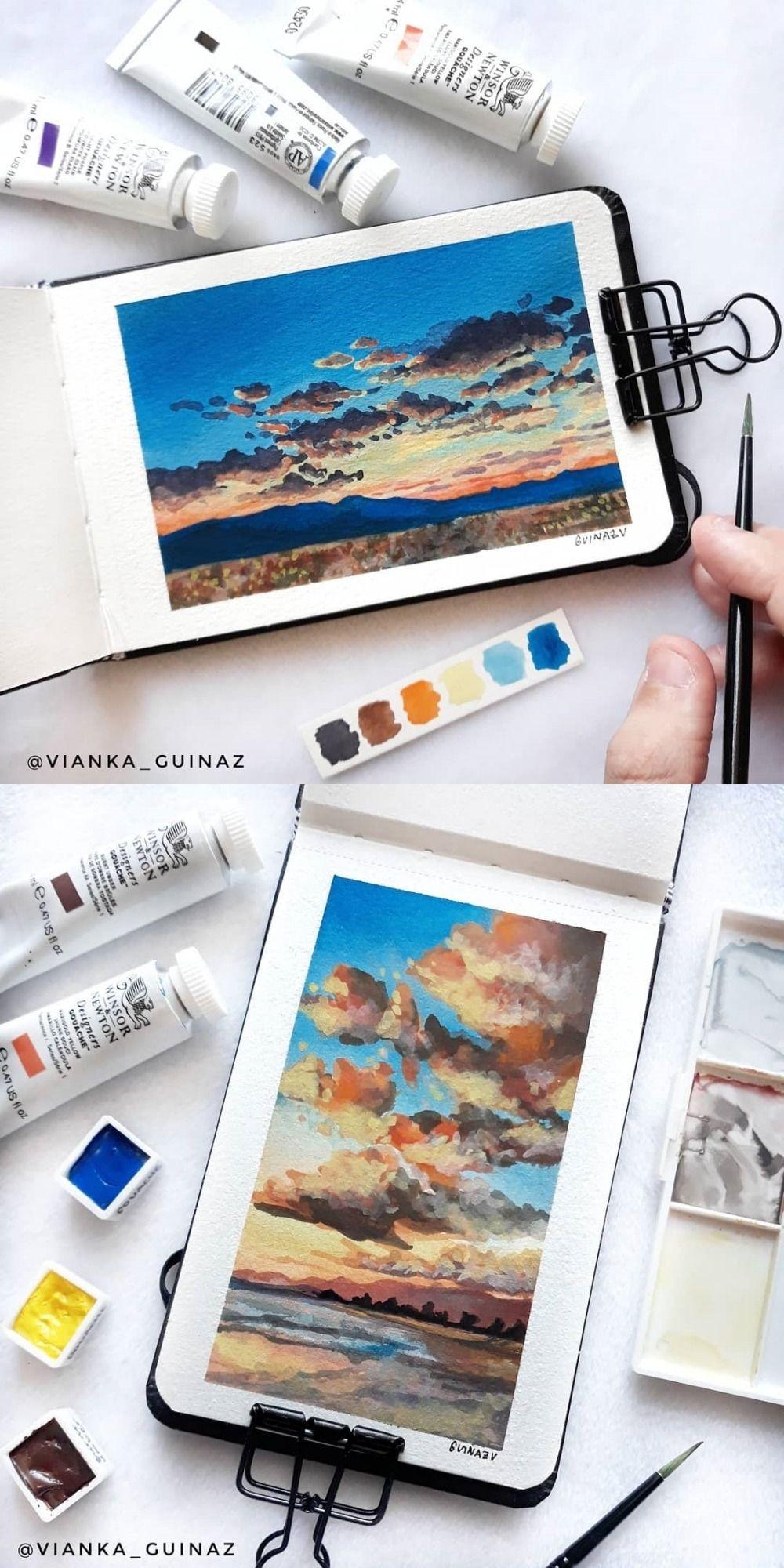 Vianka Guinaz on Instagram #art #painting #watercolor #gouache #sketchbook #clouds #sky #landscape #sunset #sunrise #dusk #dawn #landscapephoto