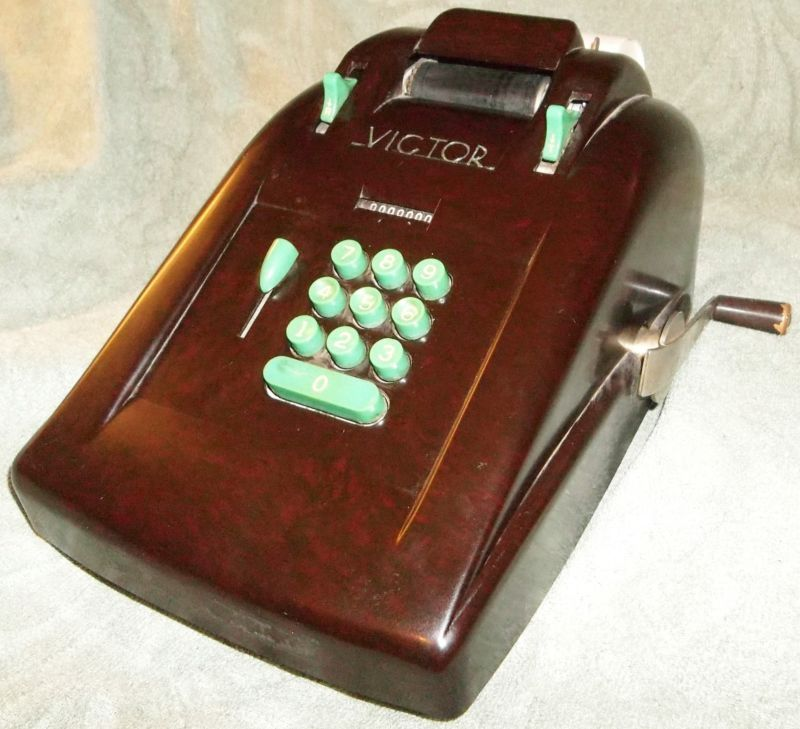 Rare Vintage Antique Victor 10 Key Adding Machine Art Deco Bakelite Brown Green Calculadora
