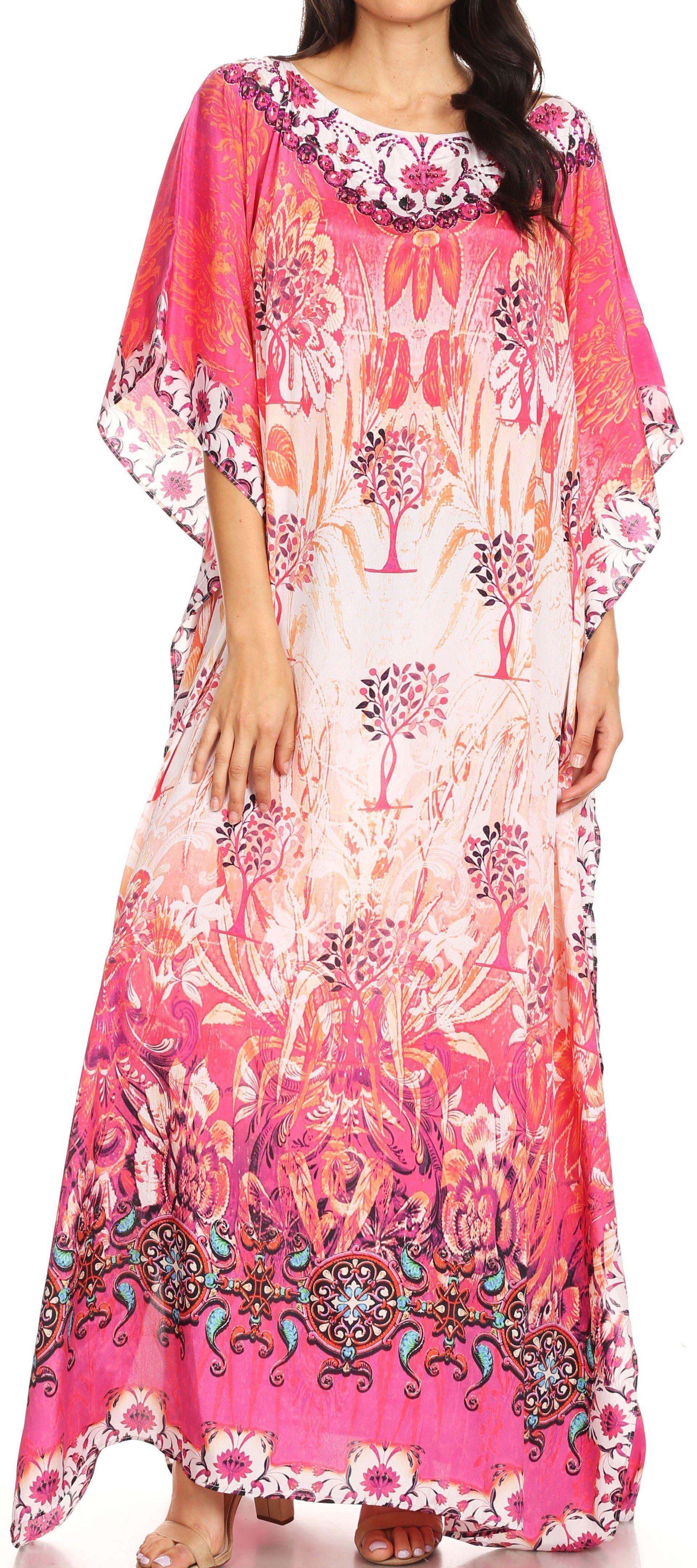 2fef667960c Sakkas Jabari Women s Maxi Short Sleeve Long Beach Kaftan Dress Boho Loose  Gown