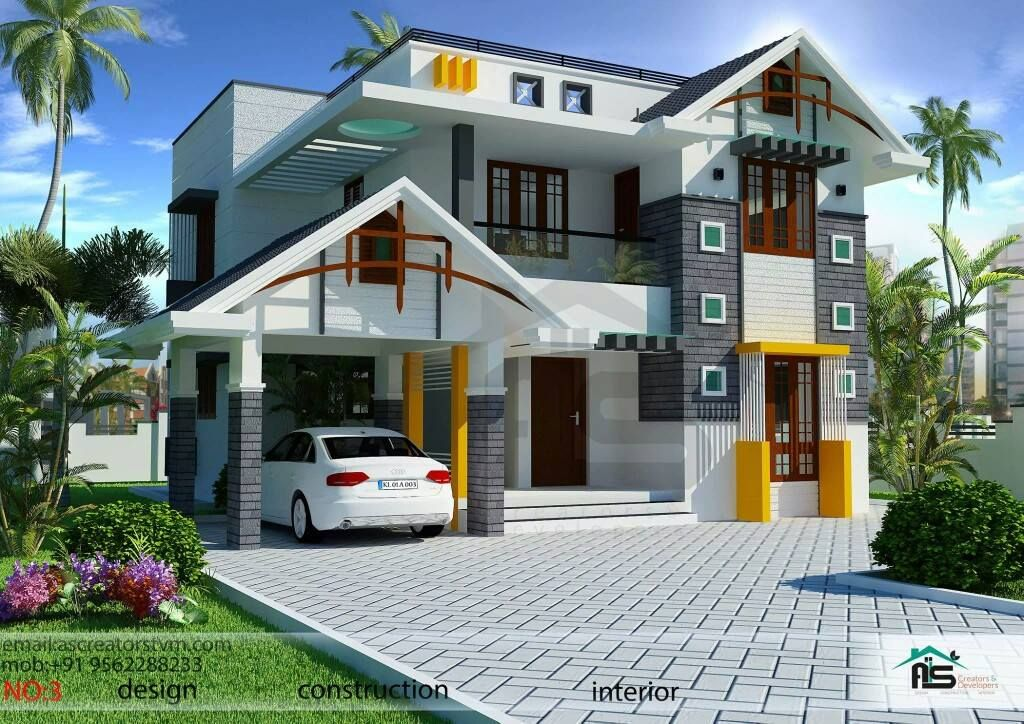 Contemporary Mix Villa Design Part - 16: 1800sqft Mixed Roof Kerala House Design | Kerala House Plans