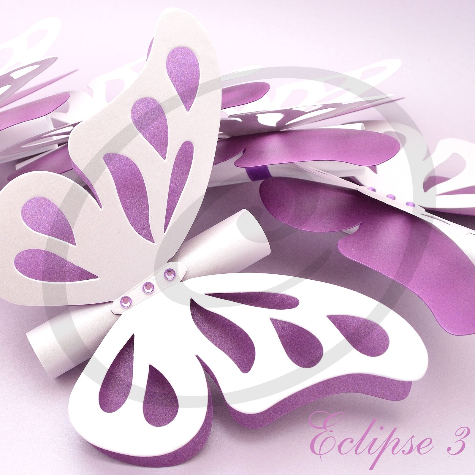 White and purple pearl cardstock bination handmade butterfly