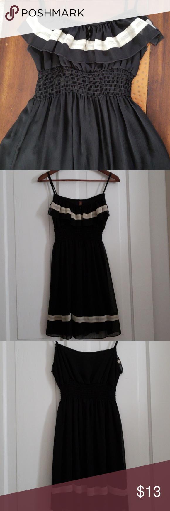 Chiffon Black And Cream Dress Chiffon Black Dress With Cream Stripe Stretchy Waist Knee Length Worn Once To A Weddin Black Chiffon Dress Cream Dress Dresses [ 1740 x 580 Pixel ]
