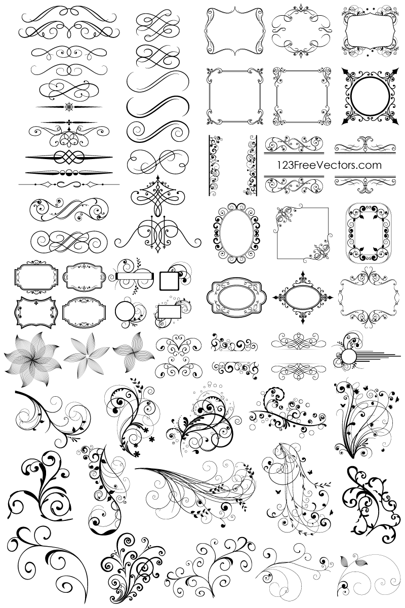 Free Download 65 Floral Decorative Ornaments Vector Pack