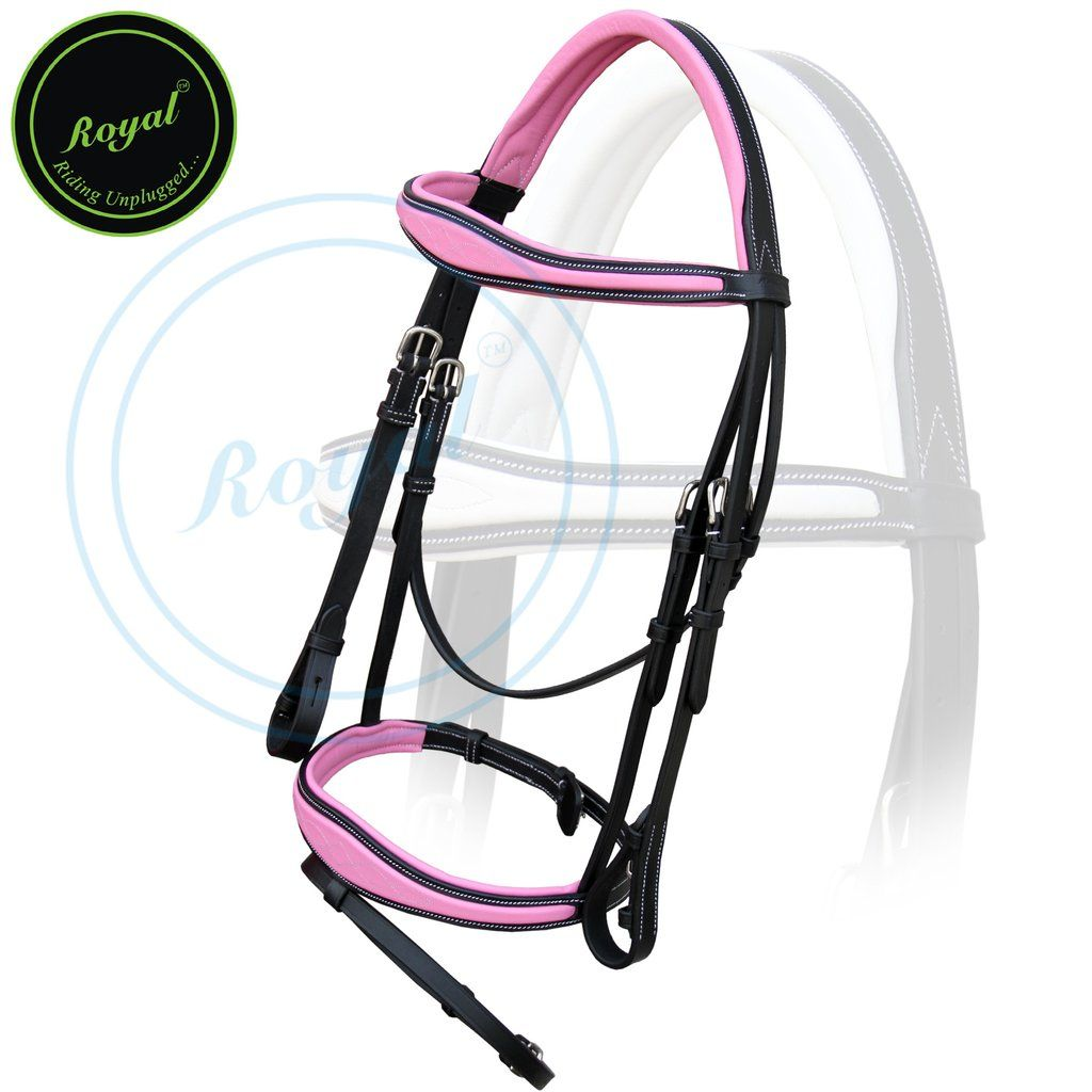Royal Fancy Anatomic Raised Pink Padded Bridle with PP Rubber Reins. - Bridles…