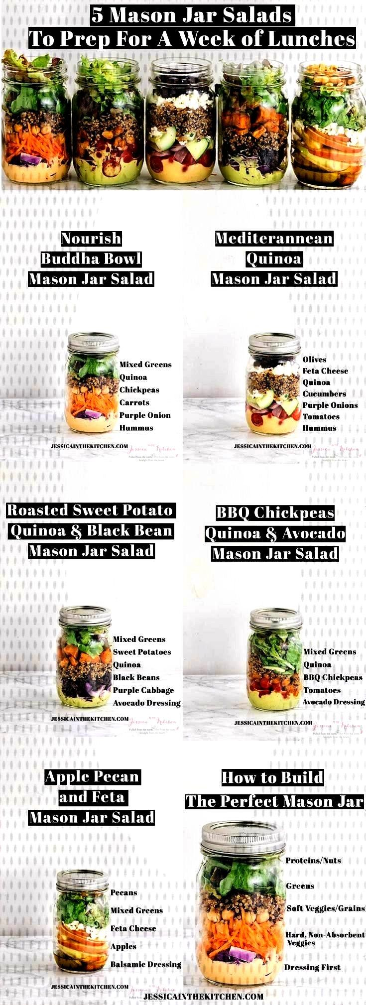 Jar Salads To Meal Prep for a Week of Lunches - 5 Salate im Glas -5 Mason Jar Salads To Meal Prep
