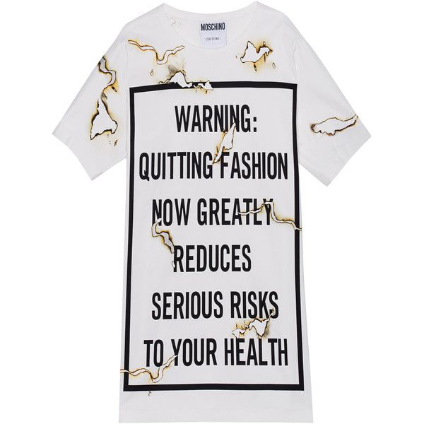 MOSCHINO Printed Burn Letter Off White Printed T shirt