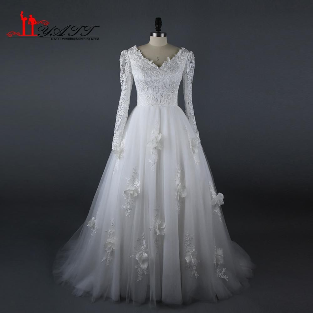 Muslim wedding bridal dresses lace long sleeves flowers elegant