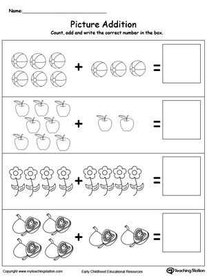 addition with pictures objects  math  addition  subtraction  addition with pictures objects learn addition by counting the pictures  this simple yet affective worksheet will help your child develop their  beginning