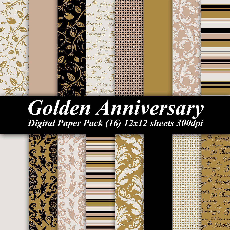 Golden Anniversary Digital Paper Pack Sheets 300 Dpi Scrapbooking Invitations
