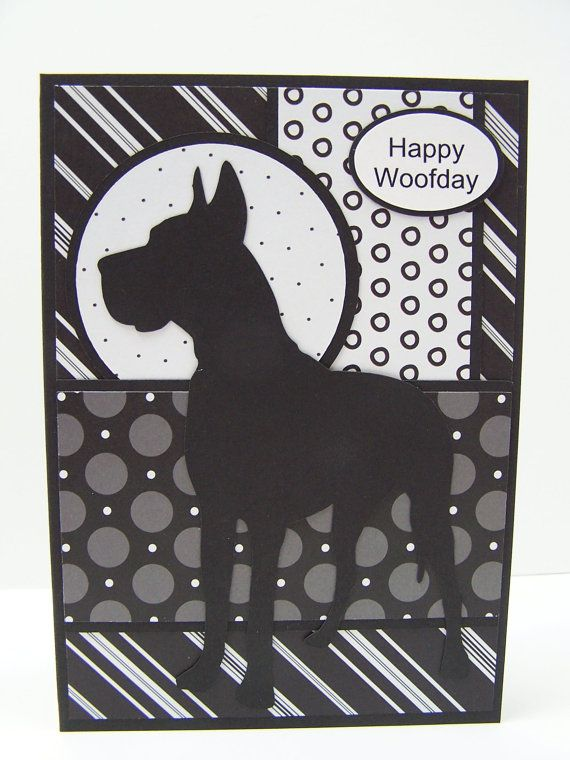 Handmade Greeting Card Pet Lover Birthday Sympathy Dog Black White Great Dane Personalized Custom