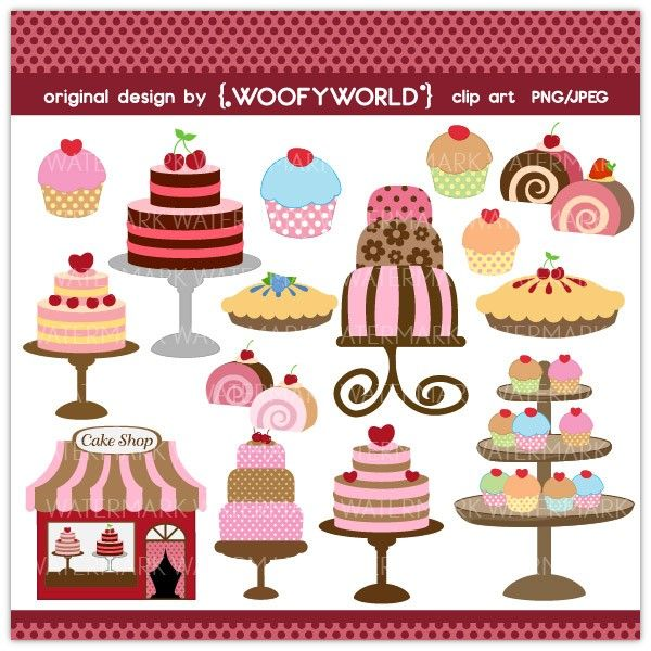 Cake Store Clipart : WA124 Cake Shop- Personal and Commercial Use digital clip ...