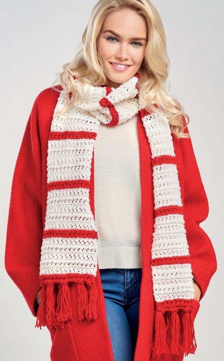 Charming Candy Stripe Scarf - Free Knitting Patterns - Christmas