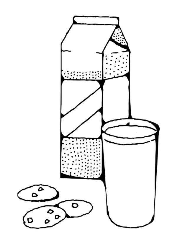 Glass Of Milk With Three Cake Coloring Page Coloring For Kids