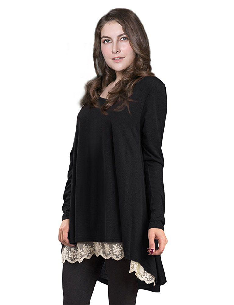 bc02814c7b4 AMZ PLUS Women Plus Size Casual Long Sleeve Loose Lace Tops Tunic Blouses  at Amazon Women s Clothing store
