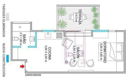Apartamento De 45 Metros Plano De Distribución Apartamentos