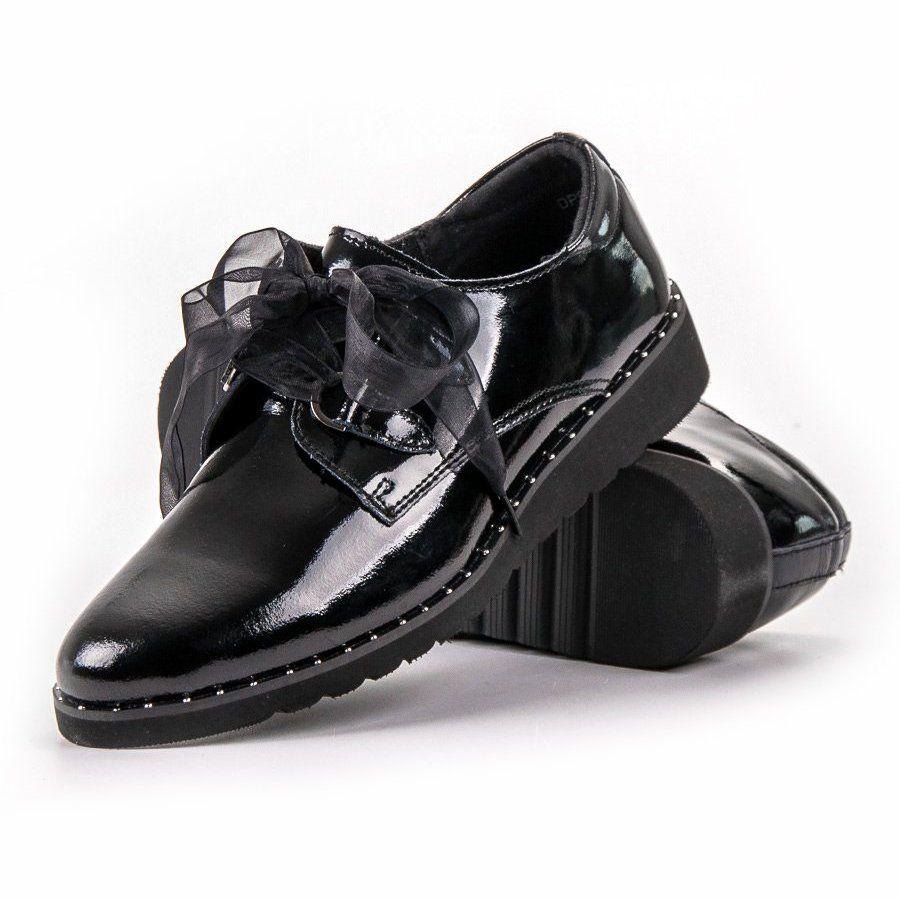 Filippo Czarne Lakierowane Polbuty Dress Shoes Men Shoes Oxford Shoes