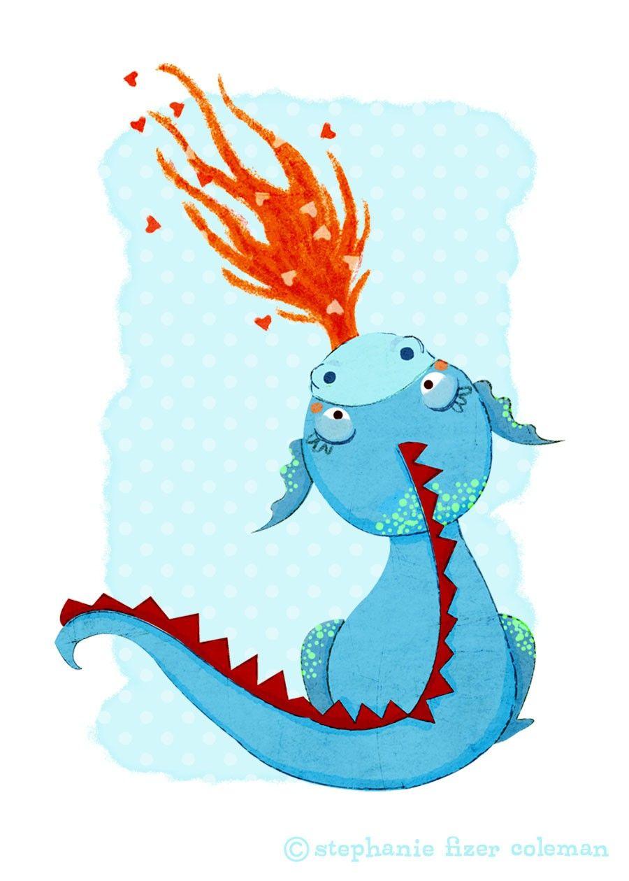 Children's Art Print Blue Dragon Print Kids Room or