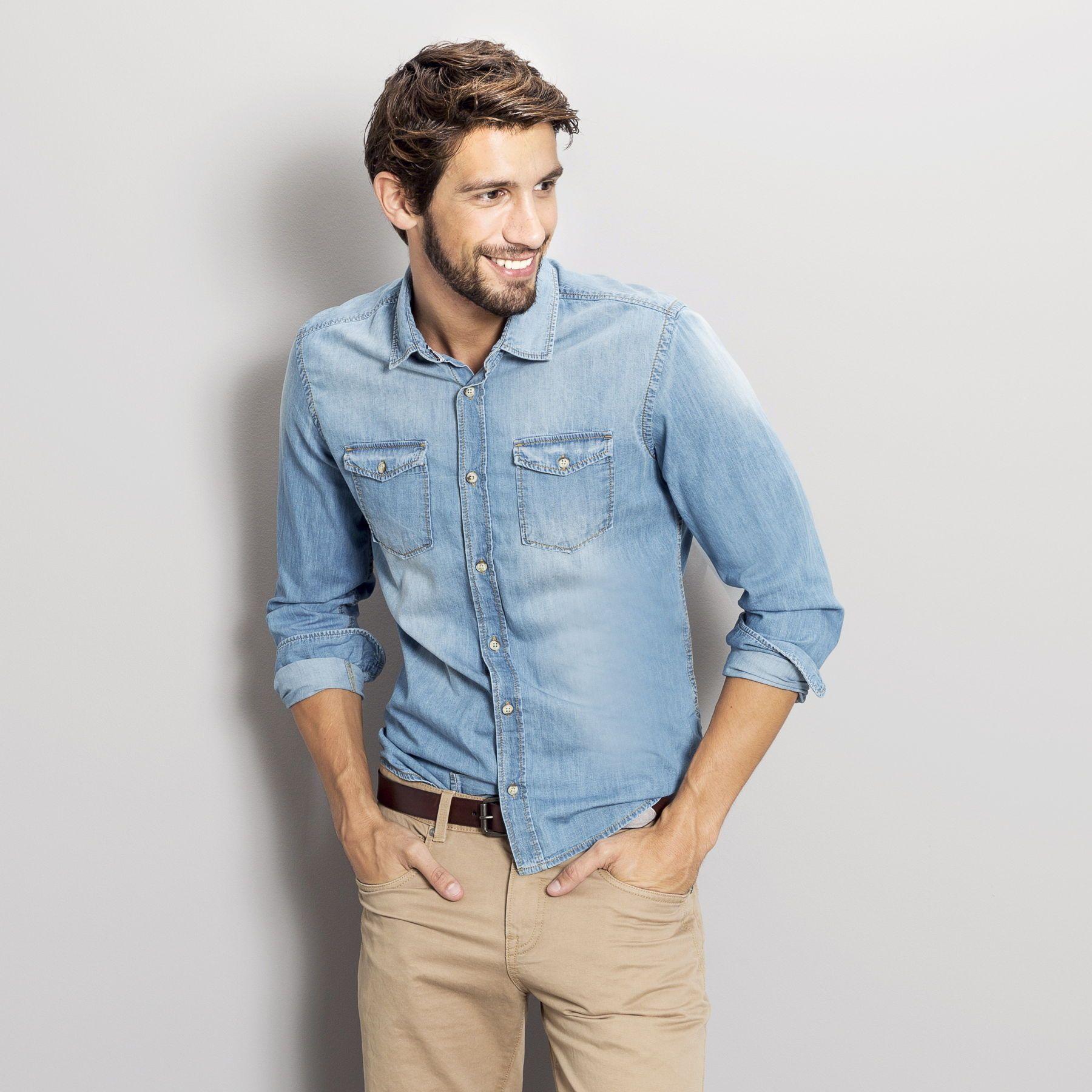 chemise denim ajust e stone clair homme jules fashion men 39 s style pinterest mode homme. Black Bedroom Furniture Sets. Home Design Ideas