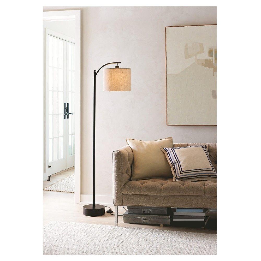 Downbridge Floor Lamp with Shade Black/Tan Threshold