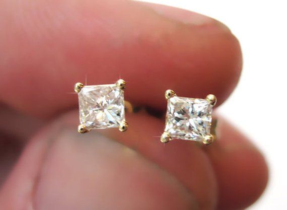 12b523924 Princess Cut Diamond Gold Stud Earrings, Diamond Stud Earrings, Square Diamond  Earrings, Diamond Ear