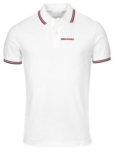 58dfde5df Prada Men's Cotton Piqué Short Sleeve Slim Fit Polo Shirt, White SJJ887