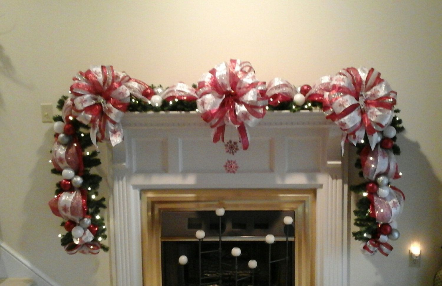 Christmas Fireplace Mantel Garland Swag Lighted Elegant Red Silver And White Staircase Shipping Included By