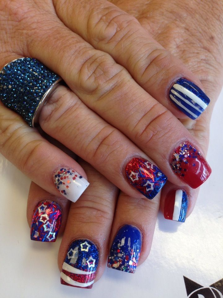 These are my All American 4th if July Nails! As Always done by Jen ...