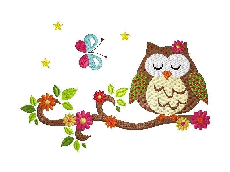 18x13 Stickdatei Owls in Spring 2 Owl on Branch 1 von kindundkegel-shop auf DaWanda.com
