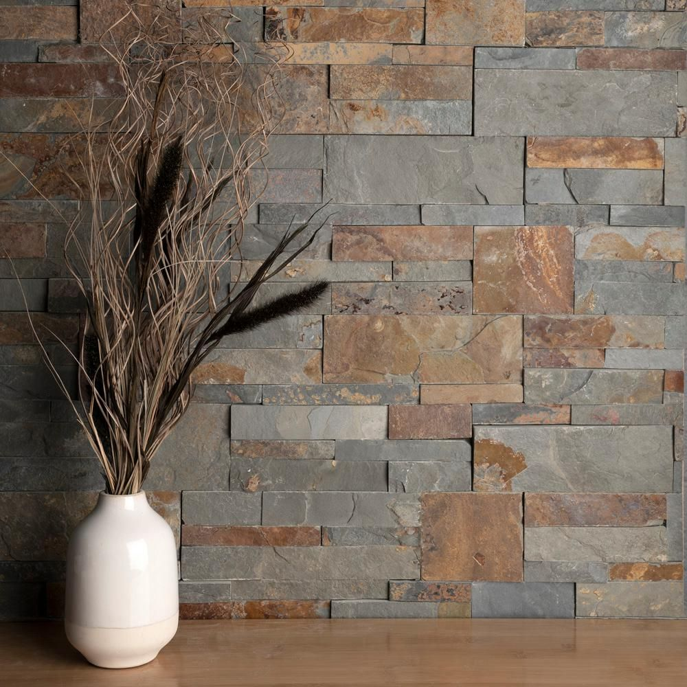 Merola Tile Ledger Panel Rusty Slate 7 In X 13 1 2 In Natural Stone Wall Tile 6 Cases 31 5 Sq Ft Pallet Lpnrus The Home Depot Stone Tile Wall Stone Wall Natural Stone Wall