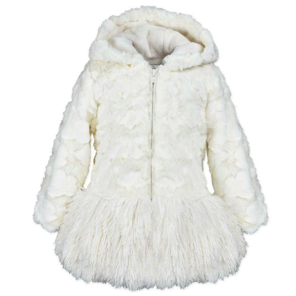 Girls Cream Faux Fur Hooded Coat Kids Warm Lined Winter Jacket Age 2 3 Years Americanwidgeon Furcoat Casua Faux Fur Hooded Coat Hooded Coat Winter Jackets